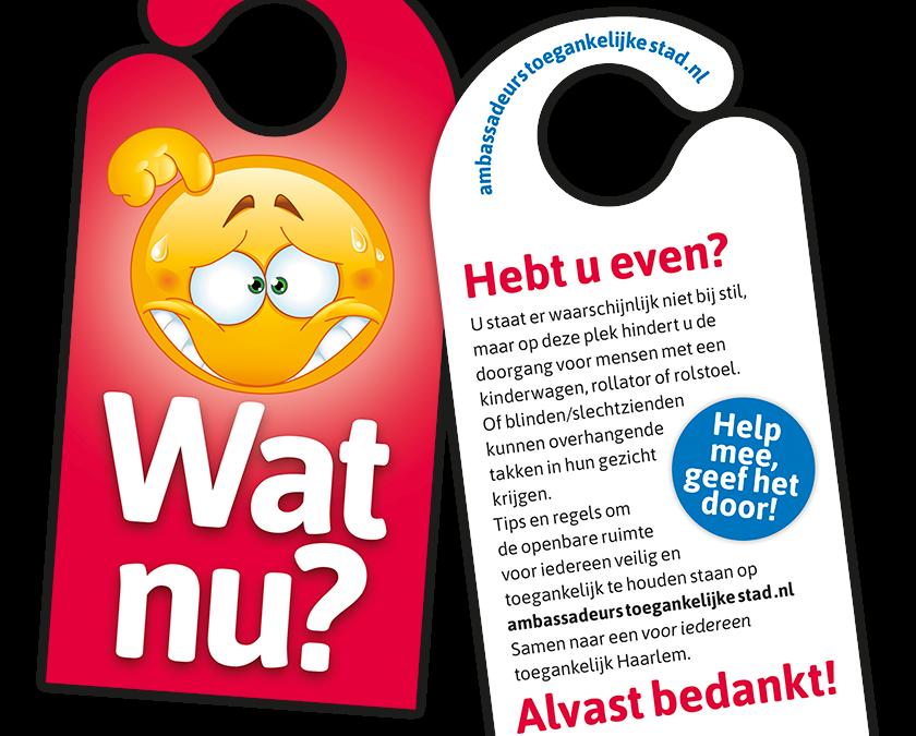 Deurhangers 'toegankelijke stad' verkrijgbaar bij Buurtbedrijf Haarlem